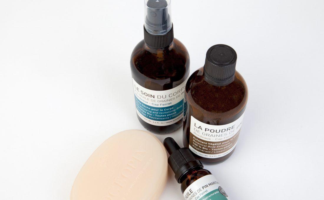 Le soin du corps, savon, poudre & huile graines de pin maritime